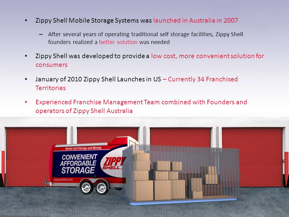 Zippy Shell Mobile Storage Systems was launched in Australia in 2007 – After several years of operating traditional self storage facilities, Zippy She
