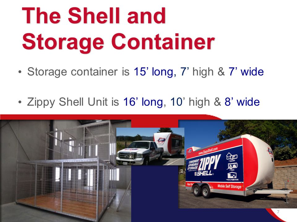 Storage container is 15' long, 7' high & 7' wide Zippy Shell Unit is 16' long, 10' high & 8' wide The Shell and The Shell and Storage Container Storag
