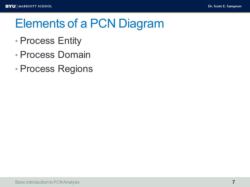 Dr. Scott E. Sampson Elements of a PCN Diagram Process Entity Process Domain Process Regions Basic introduction to PCN Analysis 7