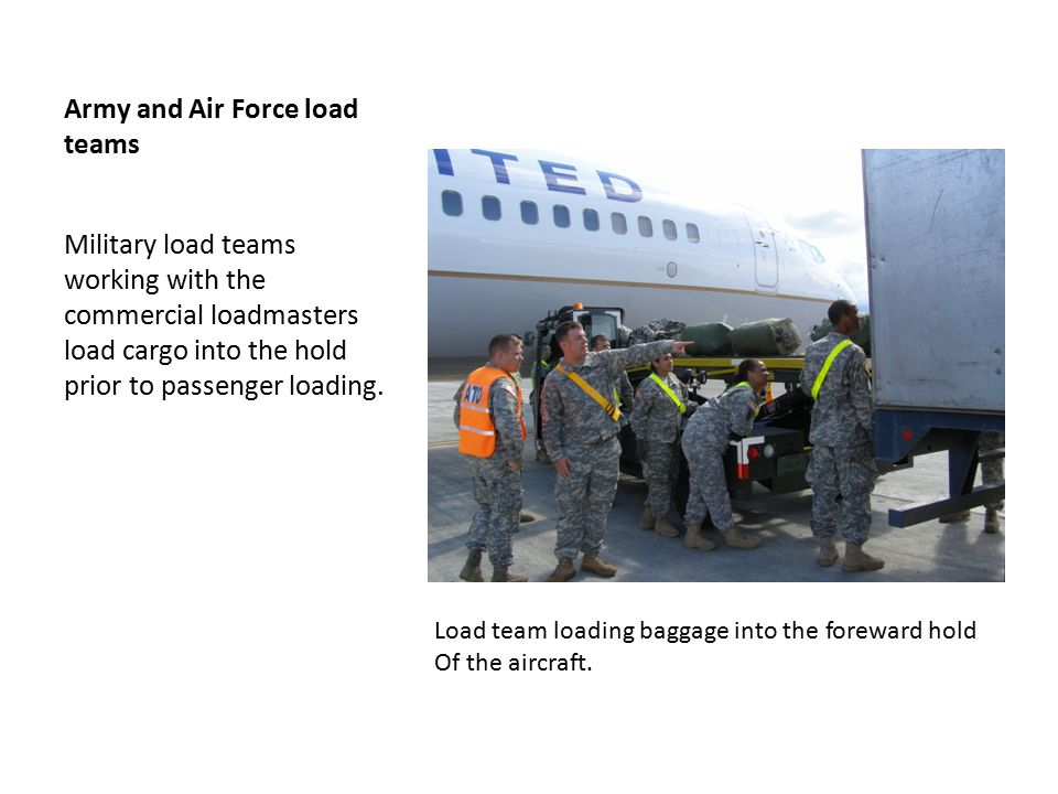 Army/ Air Force Team loading deployment aircraft Load teams moving cargo into the hold working with the commercial loadmasters to expedite the loading process.