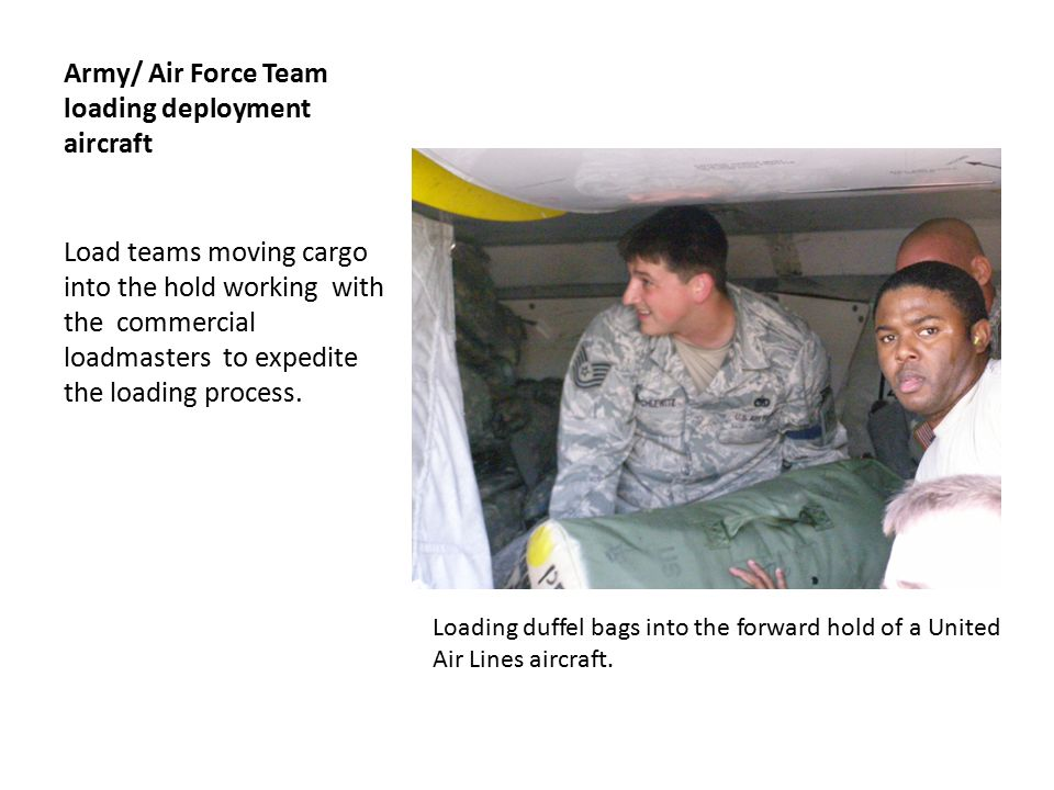 Soldiers loading on Aircraft Cargo and passengers arrive 3 hours prior to take off all tasks completed cargo and passengers loaded, wheels up.