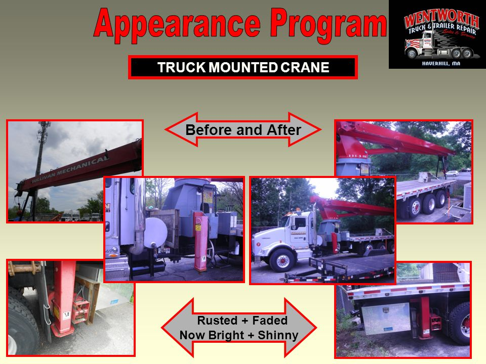 13 Before and After TRUCK MOUNTED CRANE Rusted + Faded Now Bright + Shinny