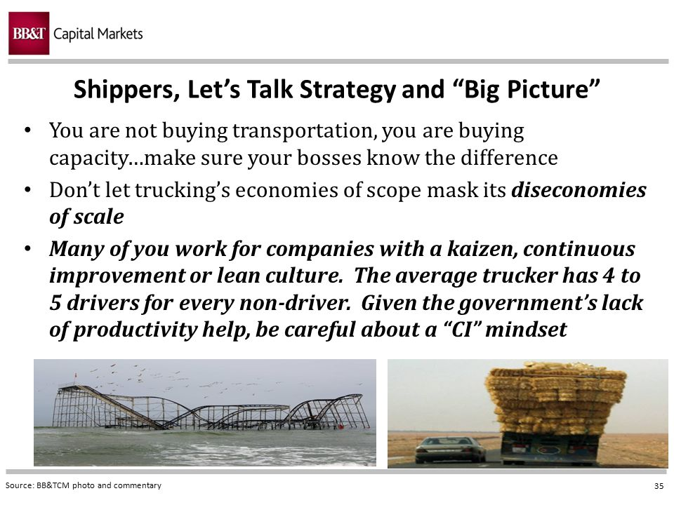"""35 Shippers, Let's Talk Strategy and """"Big Picture"""" Source: BB&TCM photo and commentary You are not buying transportation, you are buying capacity…make"""