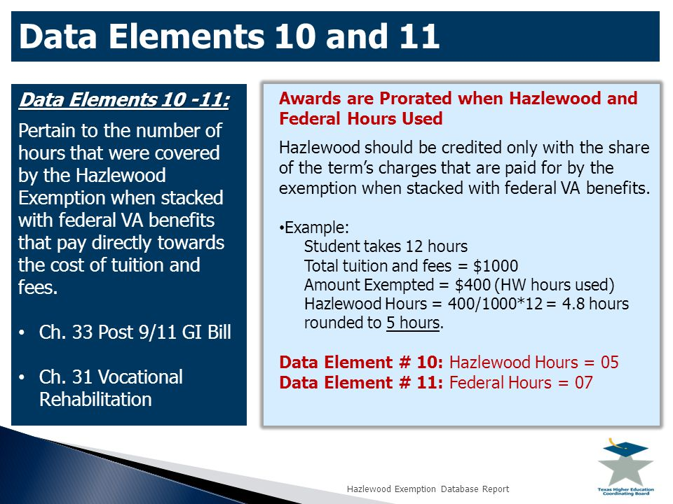 Data Elements 10 and 11 Data Elements 10 -11: Pertain to the number of hours that were covered by the Hazlewood Exemption when stacked with federal VA benefits that pay directly towards the cost of tuition and fees.