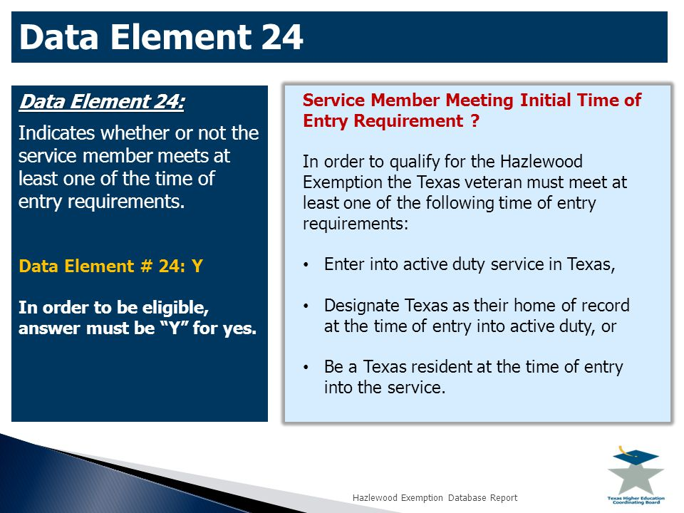 Data Element 24: Indicates whether or not the service member meets at least one of the time of entry requirements.