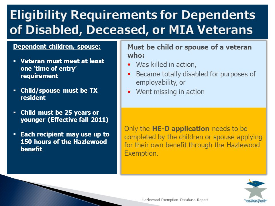 Dependent children, spouse:  Veteran must meet at least one 'time of entry' requirement  Child/spouse must be TX resident  Child must be 25 years or younger (Effective fall 2011)  Each recipient may use up to 150 hours of the Hazlewood benefit Must be child or spouse of a veteran who:  Was killed in action,  Became totally disabled for purposes of employability, or  Went missing in action Only the HE-D application needs to be completed by the children or spouse applying for their own benefit through the Hazlewood Exemption.