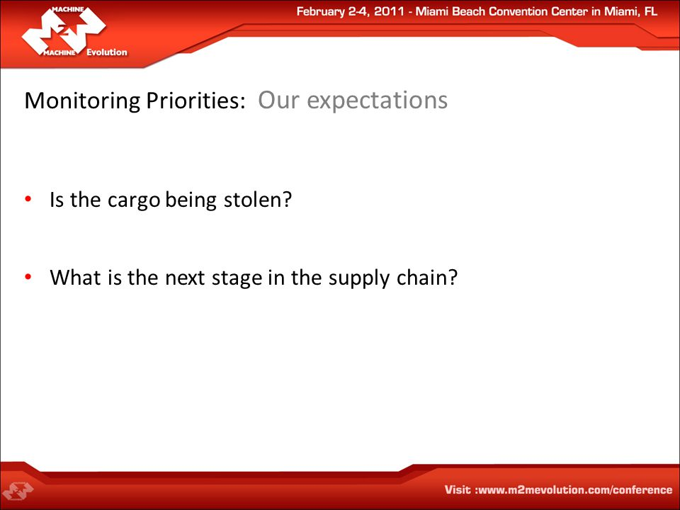 Monitoring Priorities: Our expectations Is the cargo being stolen.