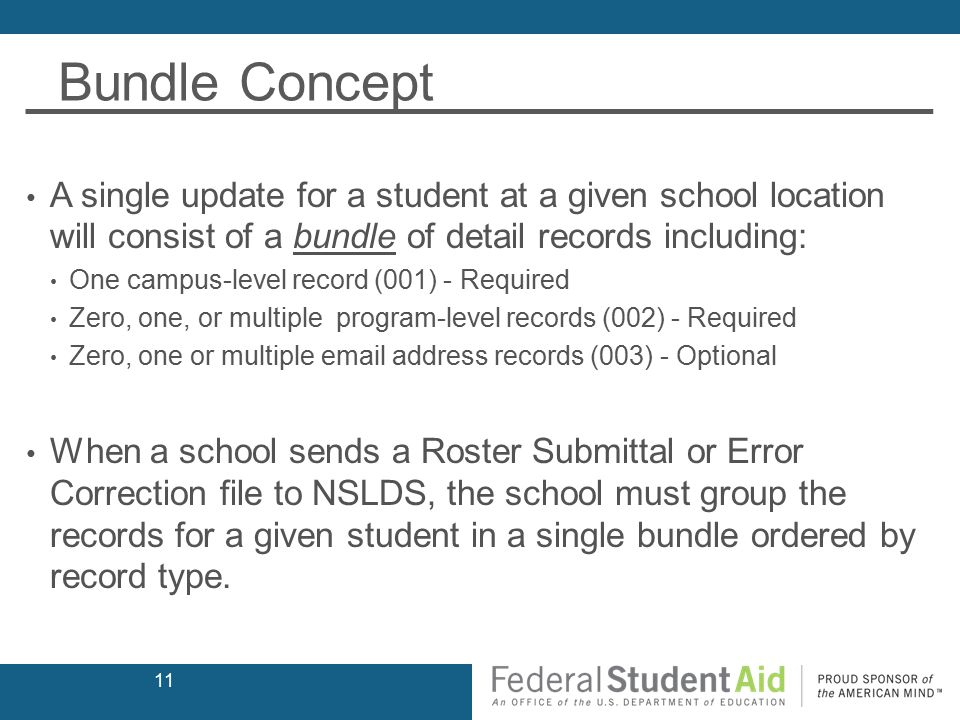 Bundle Concept A single update for a student at a given school location will consist of a bundle of detail records including: One campus-level record (001) - Required Zero, one, or multiple program-level records (002) - Required Zero, one or multiple email address records (003) - Optional When a school sends a Roster Submittal or Error Correction file to NSLDS, the school must group the records for a given student in a single bundle ordered by record type.