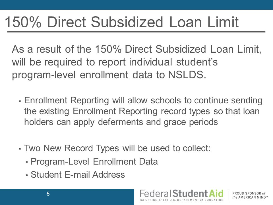 150% Direct Subsidized Loan Limit As a result of the 150% Direct Subsidized Loan Limit, will be required to report individual student's program-level enrollment data to NSLDS.