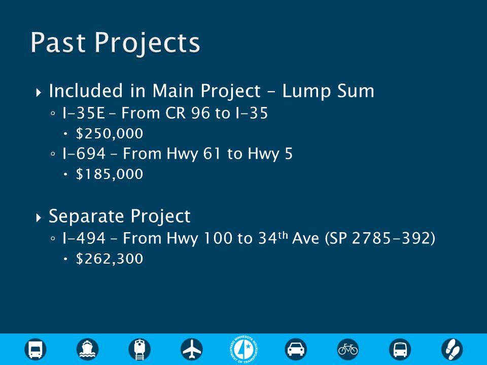  Included in Main Project – Lump Sum ◦ I-35E – From CR 96 to I-35  $250,000 ◦ I-694 – From Hwy 61 to Hwy 5  $185,000  Separate Project ◦ I-494 – From Hwy 100 to 34 th Ave (SP 2785-392)  $262,300