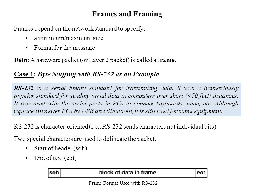 Frames and Framing Frames depend on the network standard to specify: a minimum/maximum size Format for the message Defn: A hardware packet (or Layer 2 packet) is called a frame.