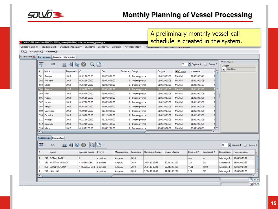 15 Monthly Planning of Vessel Processing A preliminary monthly vessel call schedule is created in the system.