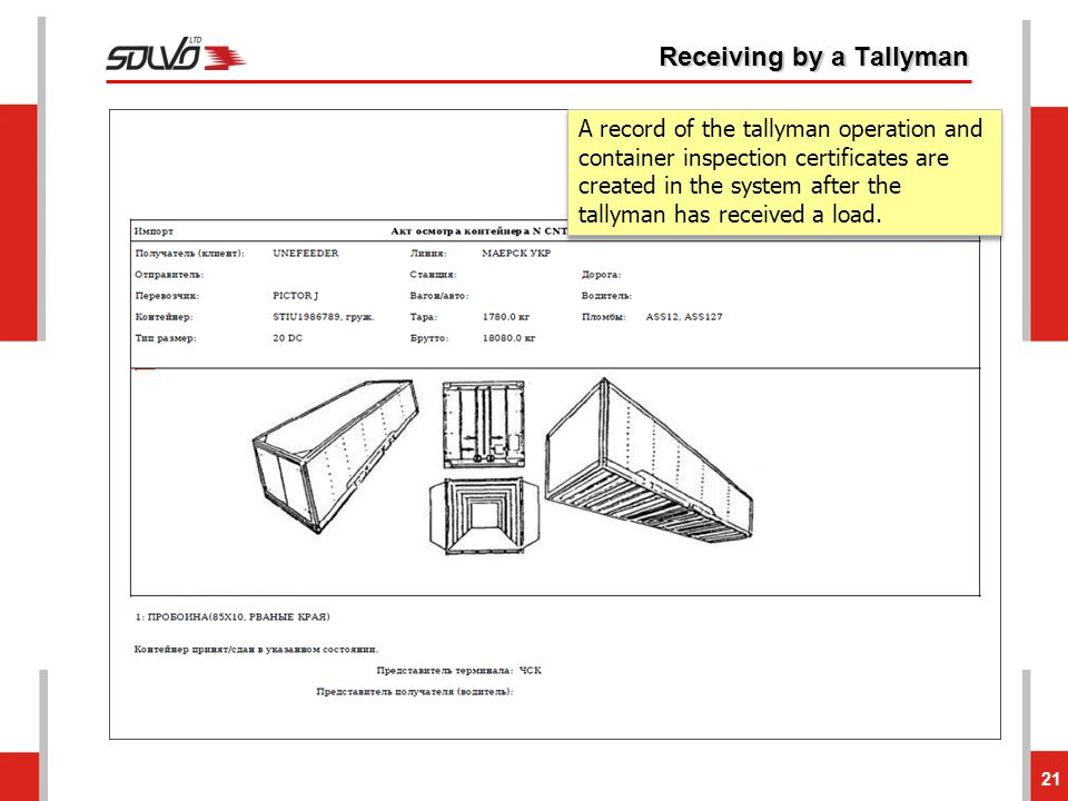 Receiving by a Tallyman 21 A record of the tallyman operation and container inspection certificates are created in the system after the tallyman has r