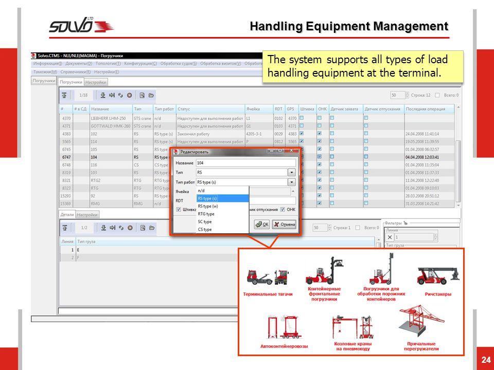 24 Handling Equipment Management The system supports all types of load handling equipment at the terminal.