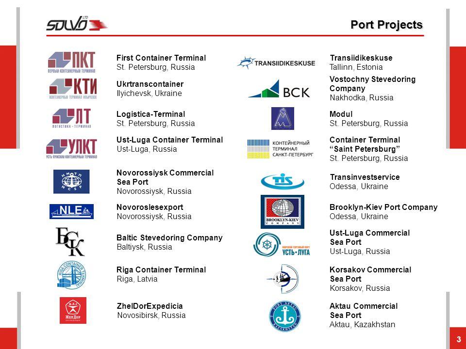 3 Port Projects First Container Terminal St. Petersburg, Russia Vostochny Stevedoring Company Nakhodka, Russia Transiidikeskuse Tallinn, Estonia Modul