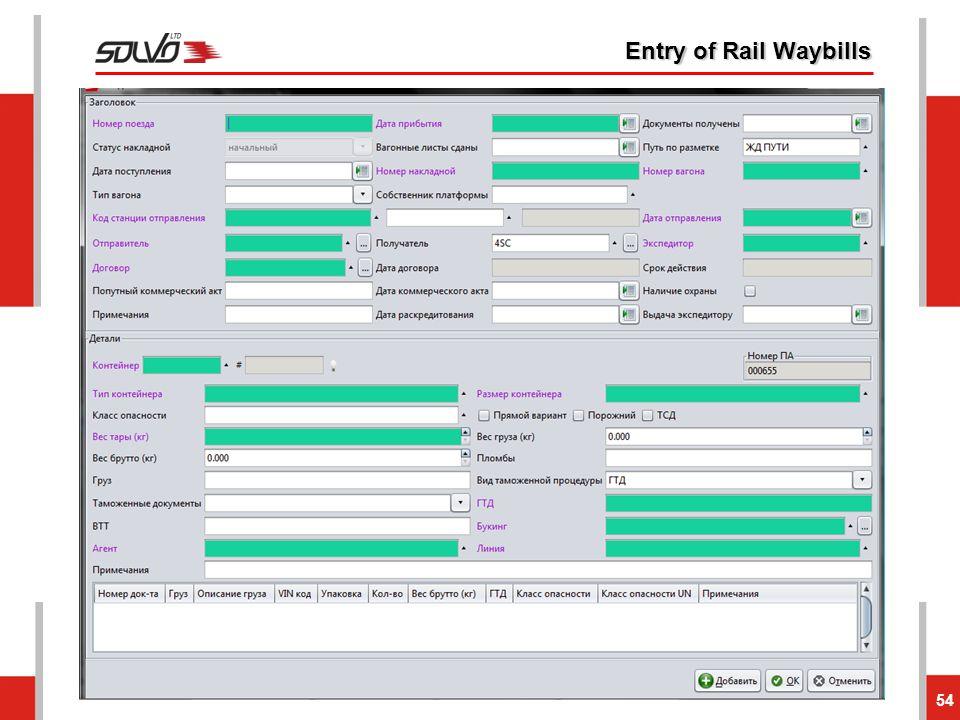 Entry of Rail Waybills 54