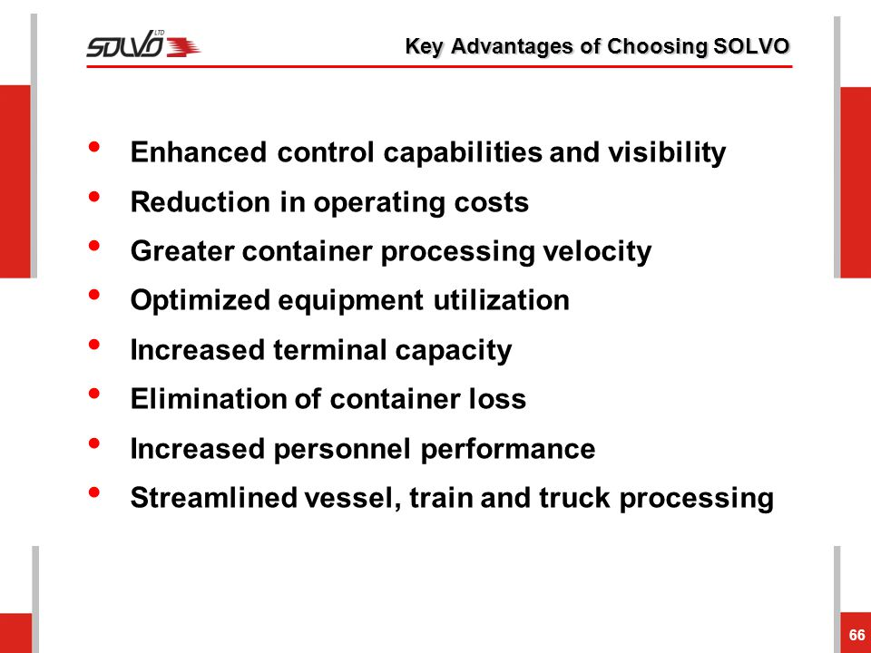 Key Advantages of Choosing SOLVO 66 Enhanced control capabilities and visibility Reduction in operating costs Greater container processing velocity Op