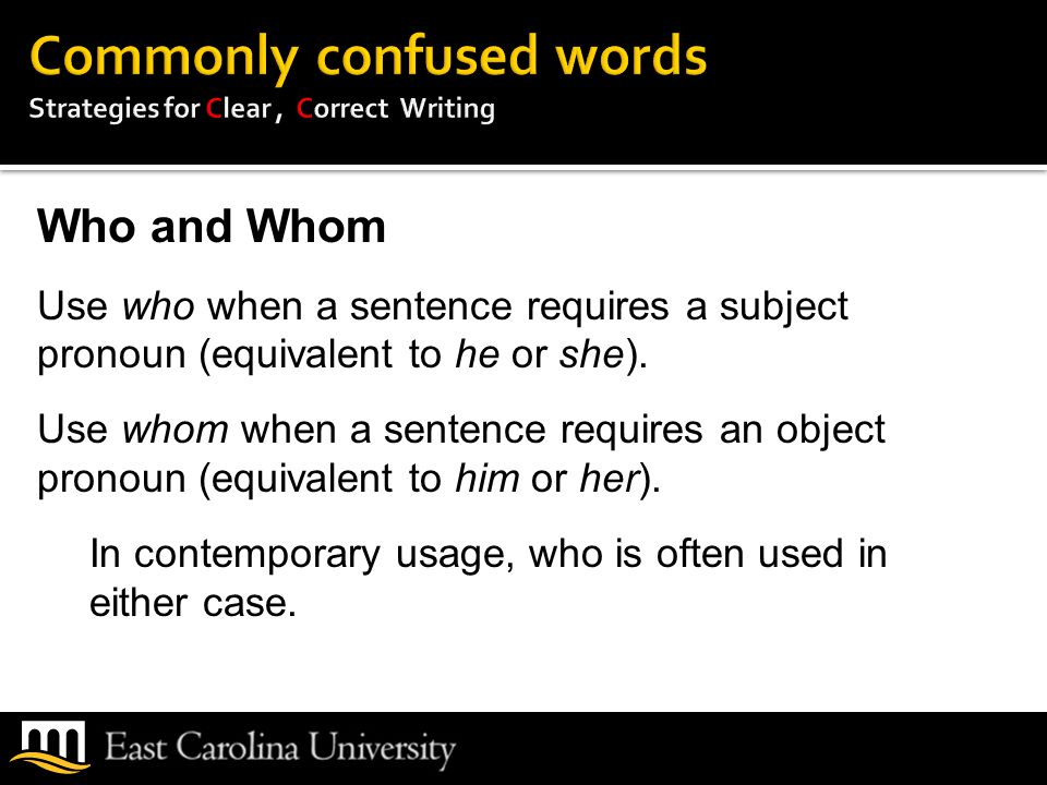 Who and Whom Use who when a sentence requires a subject pronoun (equivalent to he or she).