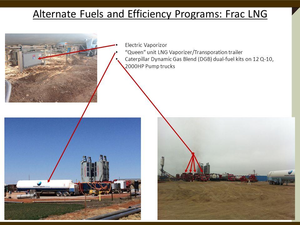 Alternate Fuels and Efficiency Programs: Frac LNG Electric Vaporizor Queen unit LNG Vaporizer/Transporation trailer Caterpillar Dynamic Gas Blend (DGB) dual-fuel kits on 12 Q-10, 2000HP Pump trucks