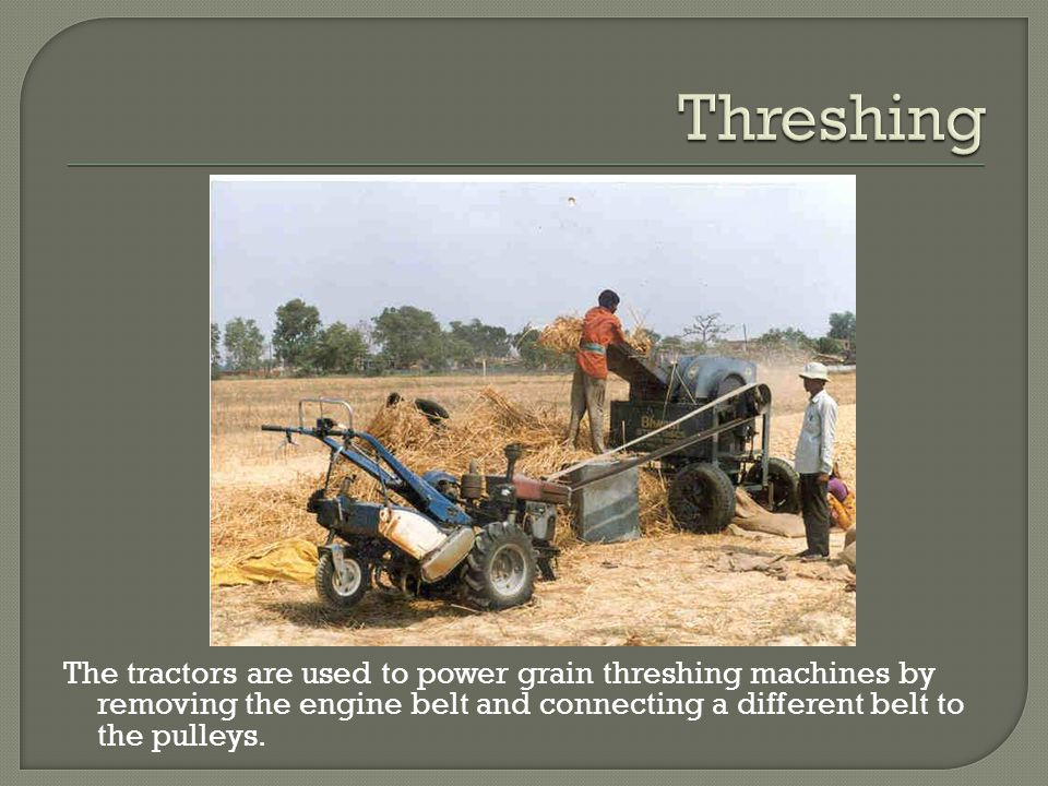 The tractors are used to power grain threshing machines by removing the engine belt and connecting a different belt to the pulleys.