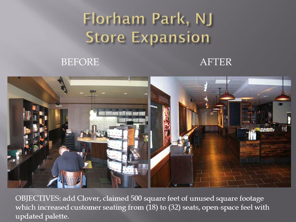 BEFOREAFTER OBJECTIVES: add Clover, claimed 500 square feet of unused square footage which increased customer seating from (18) to (32) seats, open-space feel with updated palette.
