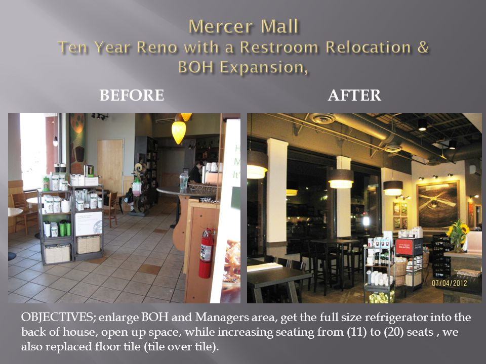 BEFOREAFTER OBJECTIVES; enlarge BOH and Managers area, get the full size refrigerator into the back of house, open up space, while increasing seating from (11) to (20) seats, we also replaced floor tile (tile over tile).