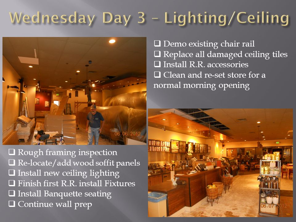  Rough framing inspection  Re-locate/add wood soffit panels  Install new ceiling lighting  Finish first R.R.