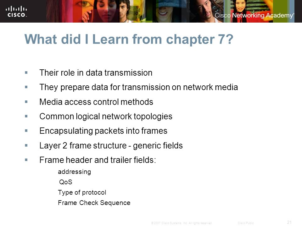 21 © 2007 Cisco Systems, Inc. All rights reserved.Cisco Public What did I Learn from chapter 7.