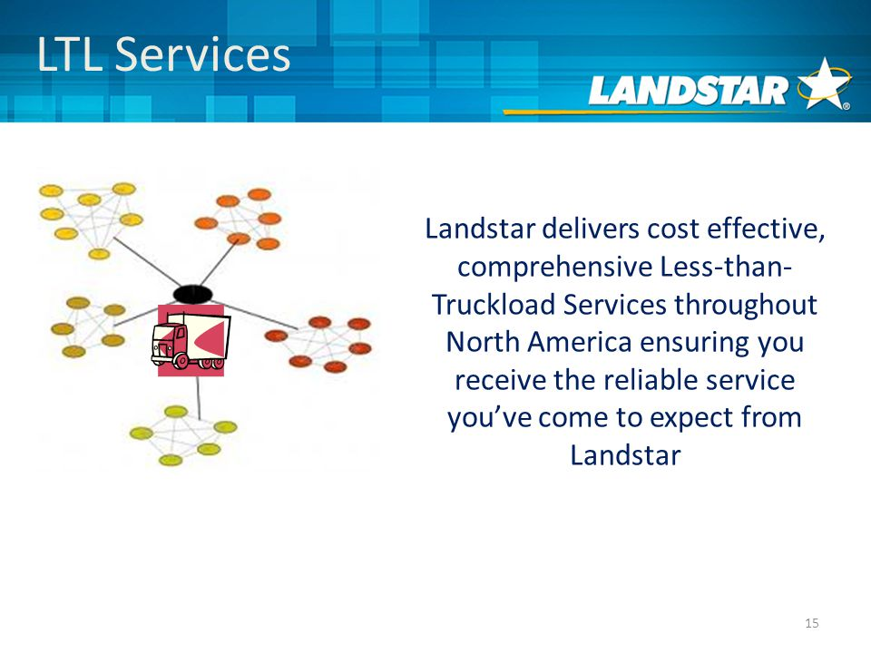 15 LTL Services Landstar delivers cost effective, comprehensive Less-than- Truckload Services throughout North America ensuring you receive the reliable service you've come to expect from Landstar