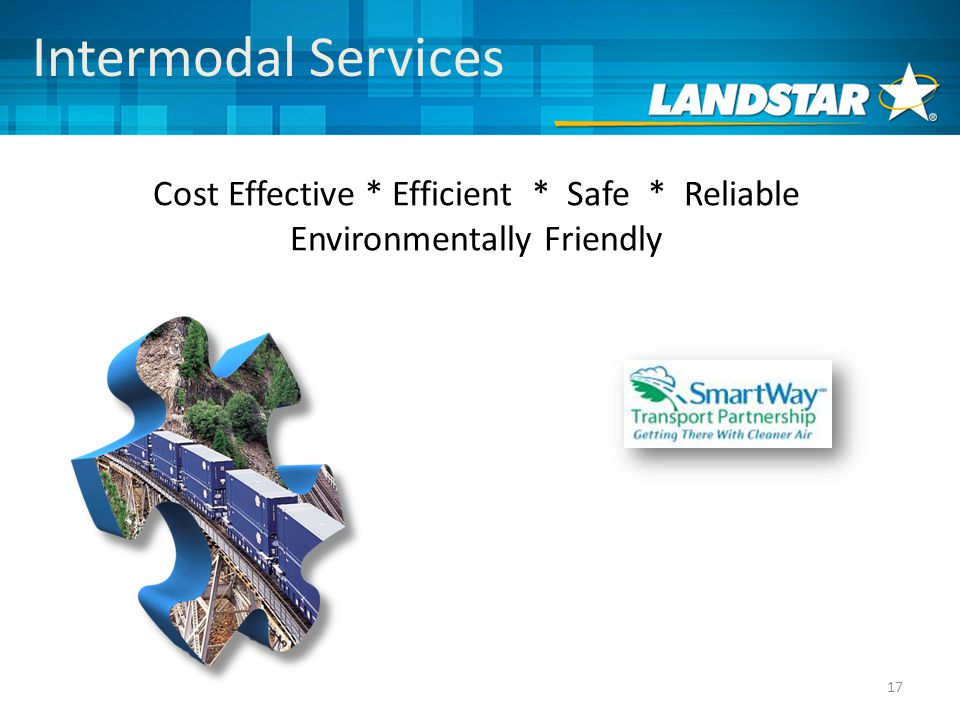 17 Intermodal Services Cost Effective * Efficient * Safe * Reliable Environmentally Friendly