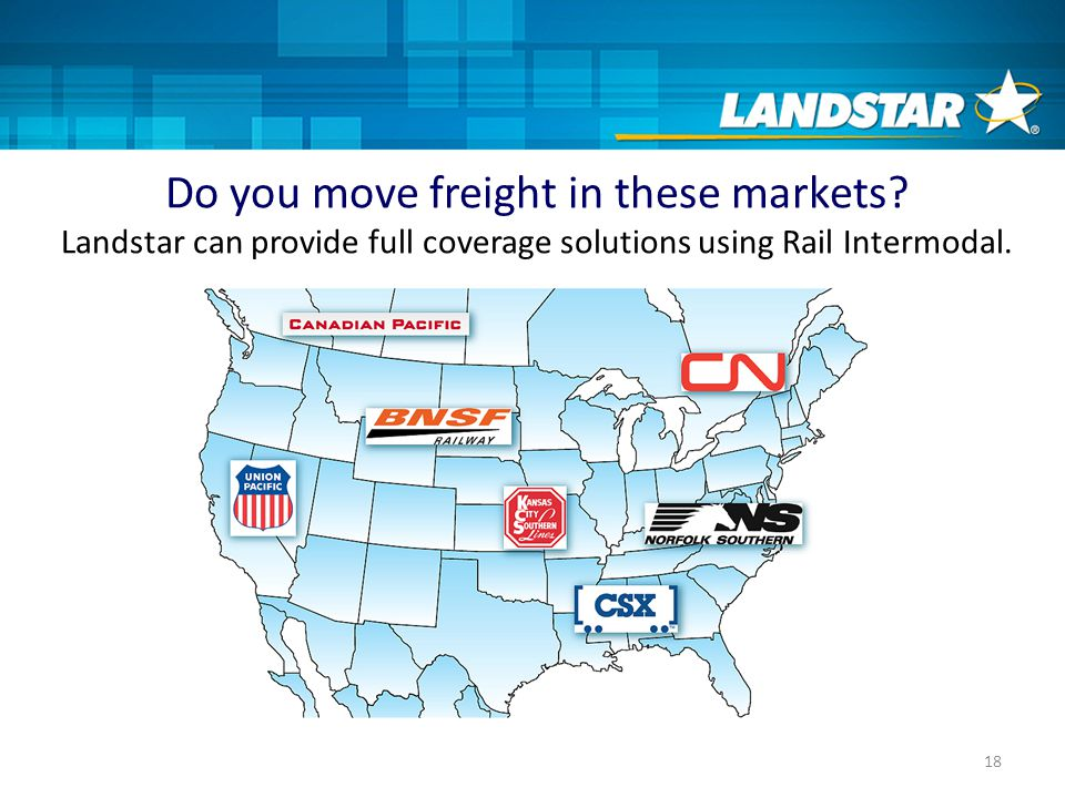 18 Do you move freight in these markets.