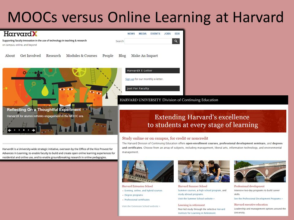MOOCs versus Online Learning at Harvard