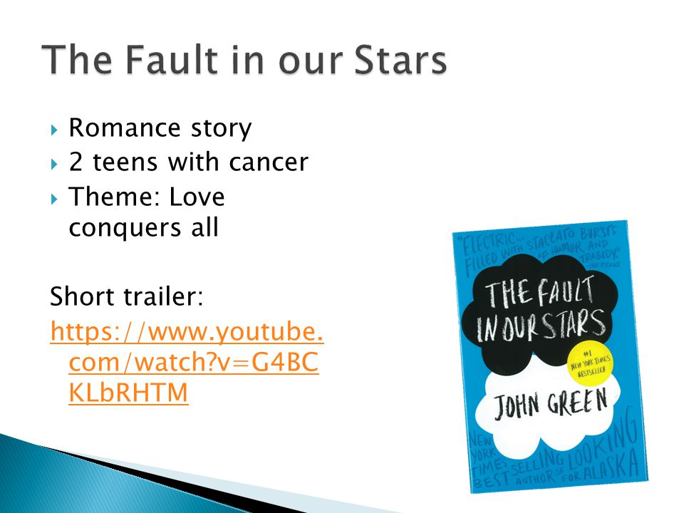  Romance story  2 teens with cancer  Theme: Love conquers all Short trailer: https://www.youtube.