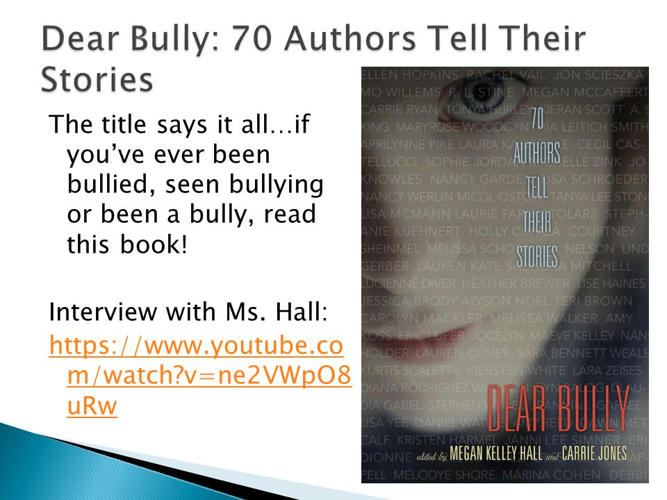 The title says it all…if you've ever been bullied, seen bullying or been a bully, read this book.