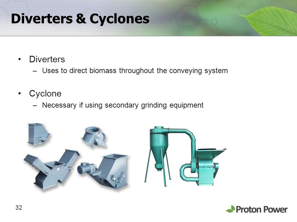 32 Diverters & Cyclones Diverters –Uses to direct biomass throughout the conveying system Cyclone –Necessary if using secondary grinding equipment