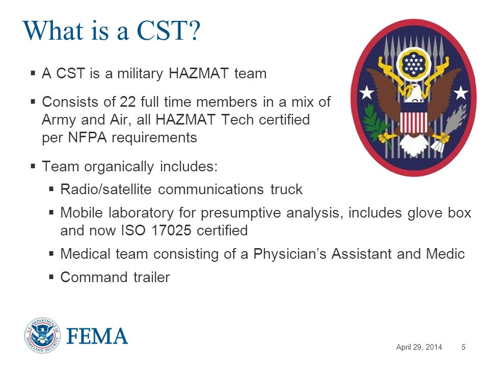 April 29, 2014 What is a CST.