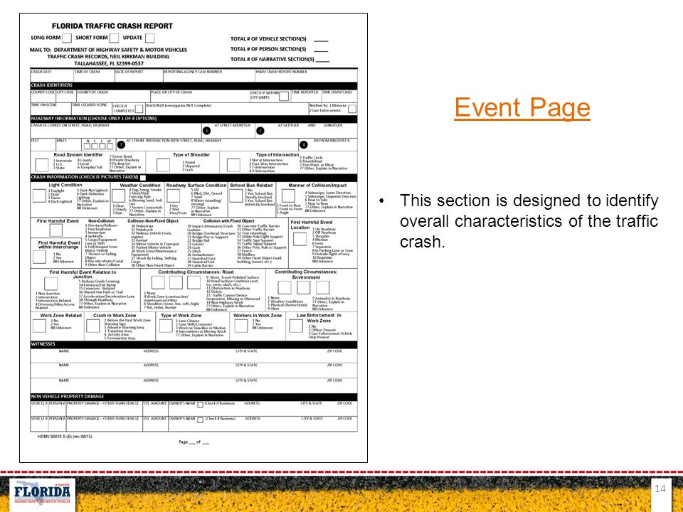 14 Event Page This section is designed to identify overall characteristics of the traffic crash.