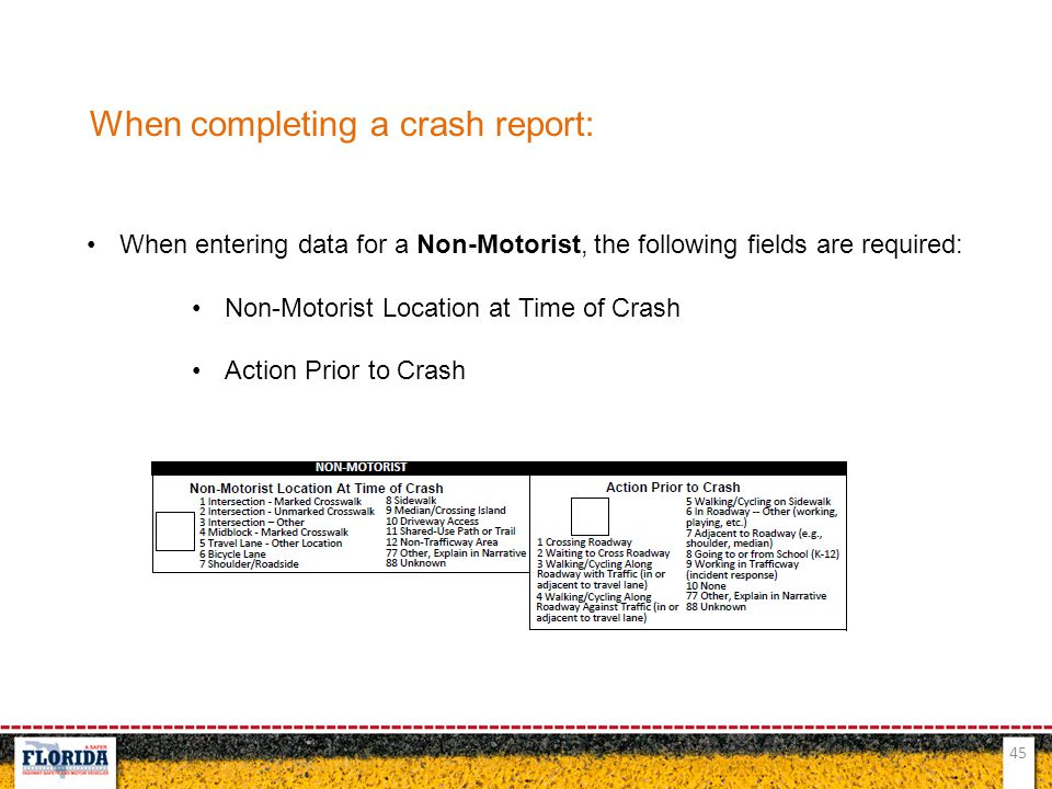 45 When completing a crash report: When entering data for a Non-Motorist, the following fields are required: Non-Motorist Location at Time of Crash Ac