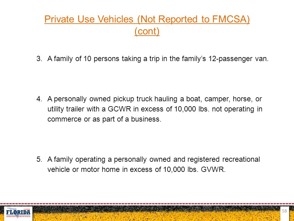 58 Private Use Vehicles (Not Reported to FMCSA) (cont) 3.A family of 10 persons taking a trip in the family's 12-passenger van. 4.A personally owned p