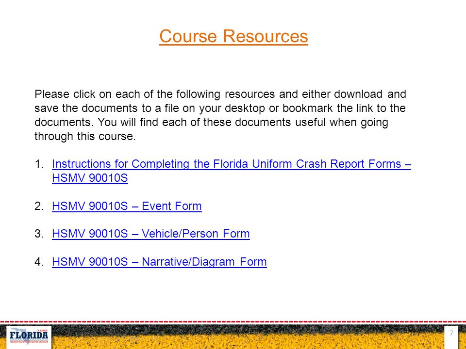 7 Course Resources Please click on each of the following resources and either download and save the documents to a file on your desktop or bookmark th