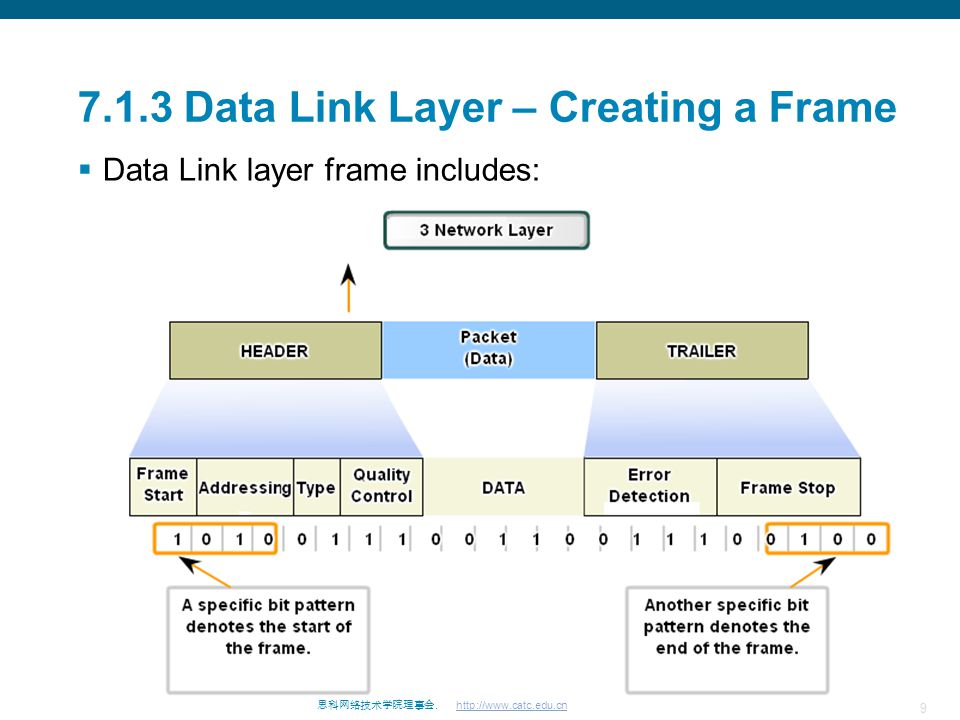 9 思科网络技术学院理事会. http://www.catc.edu.cn 7.1.3 Data Link Layer – Creating a Frame  Data Link layer frame includes: