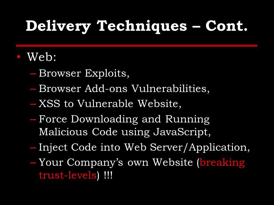 Delivery Techniques – Cont.