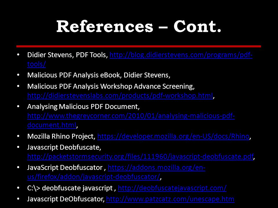 References – Cont.