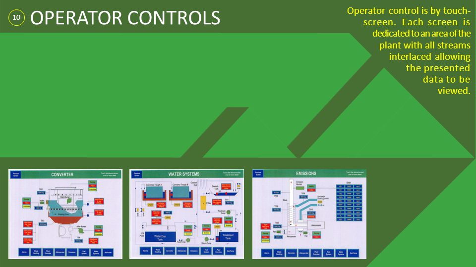 10 OPERATOR CONTROLS Operator control is by touch- screen. Each screen is dedicated to an area of the plant with all streams interlaced allowing the p