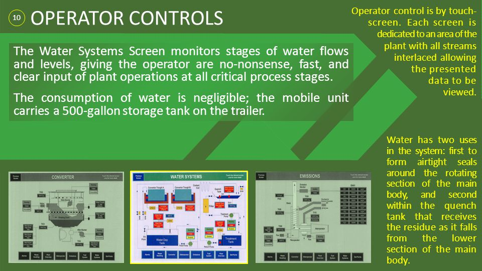 10 OPERATOR CONTROLS Water has two uses in the system: first to form airtight seals around the rotating section of the main body, and second within th