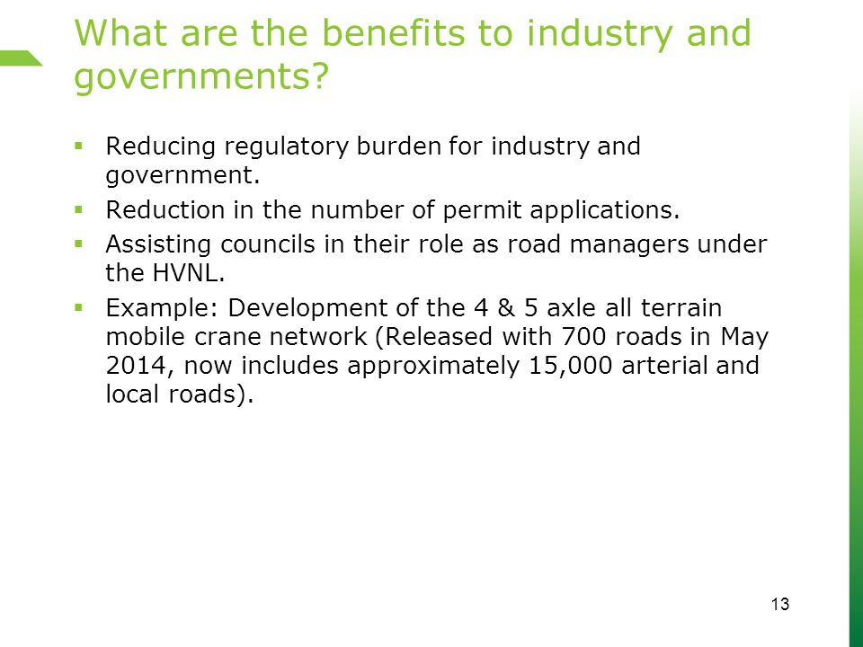 What are the benefits to industry and governments.