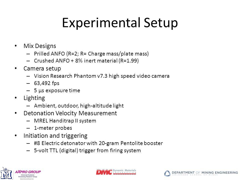 Experimental Setup Mix Designs – Prilled ANFO (R=2; R= Charge mass/plate mass) – Crushed ANFO + 8% inert material (R=1.99) Camera setup – Vision Research Phantom v7.3 high speed video camera – 63,492 fps – 5 µs exposure time Lighting – Ambient, outdoor, high-altitude light Detonation Velocity Measurement – MREL Handitrap II system – 1-meter probes Initiation and triggering – #8 Electric detonator with 20-gram Pentolite booster – 5-volt TTL (digital) trigger from firing system