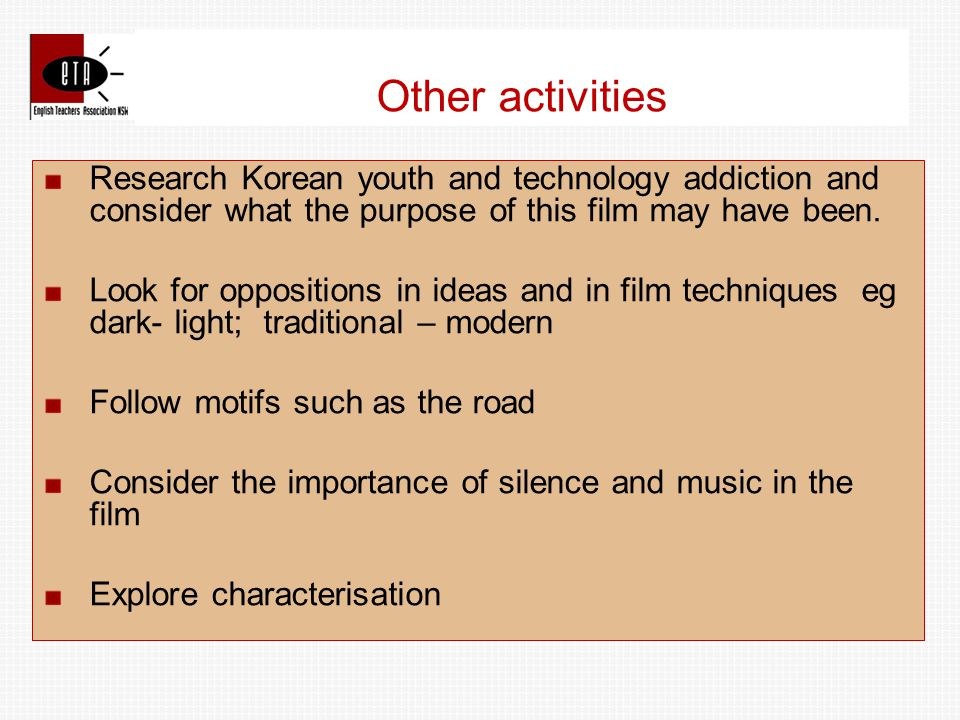 Research Korean youth and technology addiction and consider what the purpose of this film may have been.