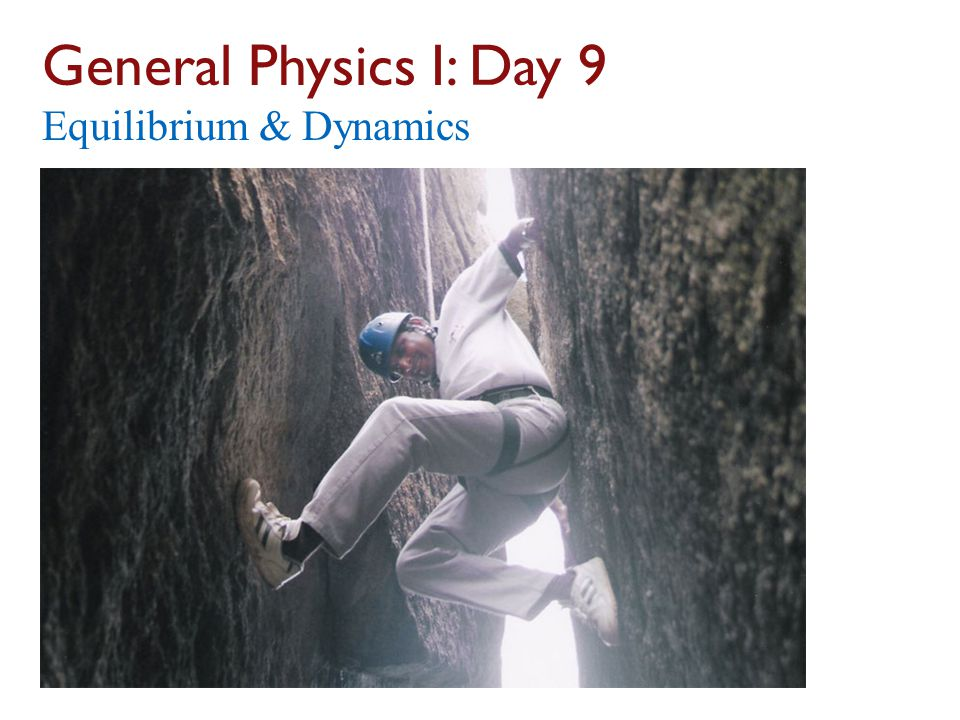 General Physics I: Day 9 Equilibrium & Dynamics