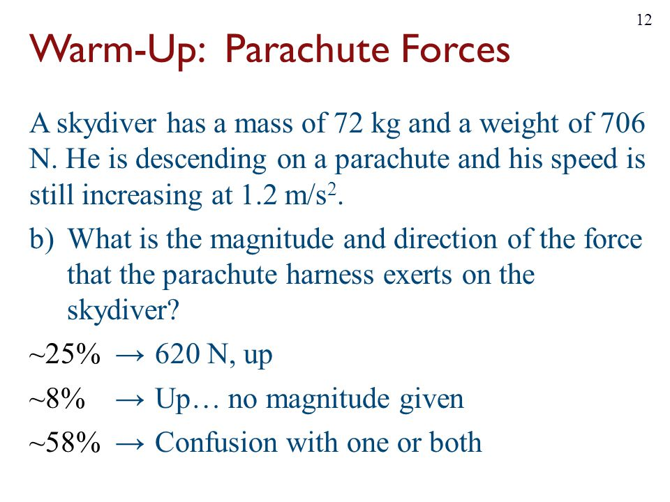 Warm-Up: Parachute Forces A skydiver has a mass of 72 kg and a weight of 706 N. He is descending on a parachute and his speed is still increasing at 1